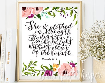 "She is clothed in strength and dignity, Proverbs 31:25, Nursery Bible verse print decor, Nursery Scripture, Christian wall art, 8x10"" 11x14"""