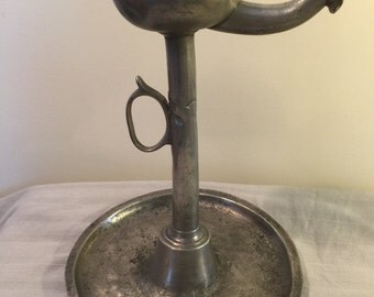 Antique Oil Lamp Pewter signed FCW (Friedrich Christian Weschke  Regensburg Germany 1755-1788).