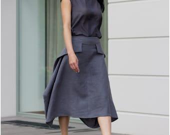 Gray linen skirt