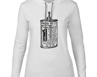 Mintage Handy Oil Can Womens Fine Jersey Hooded T-Shirt