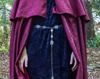 Fantasy hooded cloak with capelet, woman's lined hooded cape with capelet, floor length cape