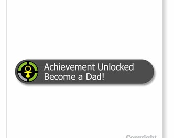 Achievement Unlocked: Become A Dad Blank Cards   new baby announcement note cards   new dad video game card announcing new expecting babies