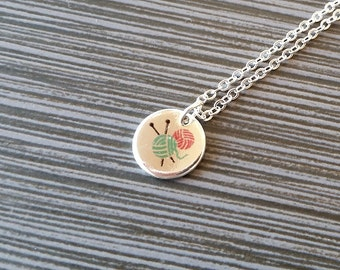 Silver Yarn Necklace - Knitting Yarn Charm Necklace - Personalized Necklace - Custom Gift - Knitting Necklace - Gifts for Knitters