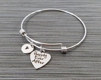 Happily Ever After Bracelet - Fairy Tale Bracelet - Expandable Charm Bracelet - Initial Bracelet - Wedding Gift - Bride Gift Bracelet