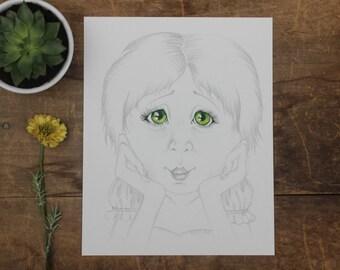 fine art, nursery art, drawing of girl, pencil drawing, pencil illustration, pencil and ink art, little girl illustration