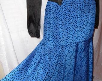 Vintage 80's cobalt blue secretary skirt with black dots
