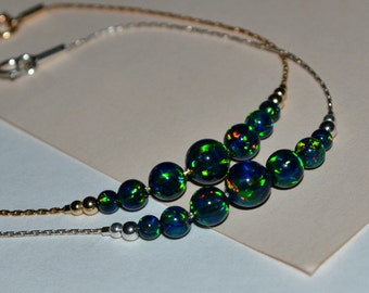 OPAL BRACELET // Opal Charm Bracelet - Green Blue Opal Ball Bracelet - Single Bead Bracelet - Tiny Opal Bead Bracelet - Opal Drop Bracelet