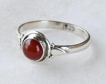 Carnelian Ring, Sterling Silver Ring, Carnelian Stone, Gemstone Ring, Sterling Ring, Girls Rings , Simple Ring, Baby Ring,Carnelian Stone