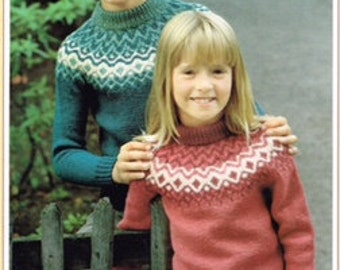 Vintage Knitting Pattern - Fair Isle Knits -Child, Boy, Girl, Children sweater pullover -  PDF Download - Retro - 80's - Nordic Knitting
