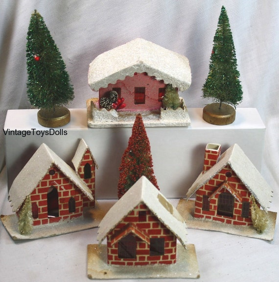 Original vintage christmas alpine village decorations for Alpine decoration