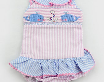 Baby Girls Whales hand smocked bathing suit. Size: 18M