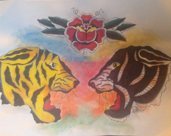 Watercolor Tiger Flash Art