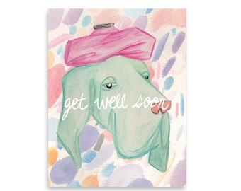 Get Well Soon Greeting Card / Get Well Cards / Encouragement Card / Blank Card / Mishka Marie Art