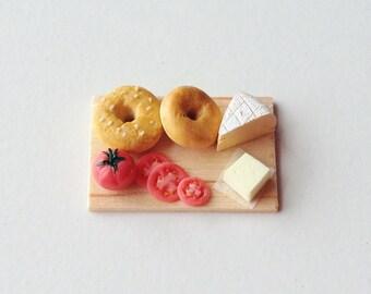 Miniature Food - Bagels on Food Preparation Board   1:12 Scale Dollhouse Food