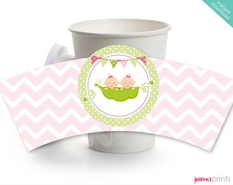 Instant Download Baby Twin Girls Printable Coffee Cup Wrapper, Sweet Pea Twin Girls Label, Sweet Pea Baby Shower Coffee Sleeve Wrapper