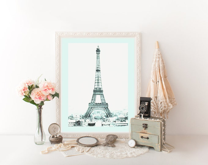 VINTAGE EIFFEL TOWER Digital Art Print Aqua Tinted Photograph Paris Digital Print Aqua Eiffel Tower Photograph Poster French Room Decor