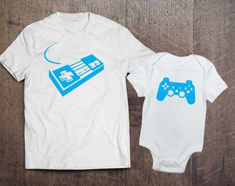 Father Son Matching Shirts - Nintendo Playstation Shirt - Father Son Matching T-shirts - Player 1 Player 2, Daddy Baby Set Controller