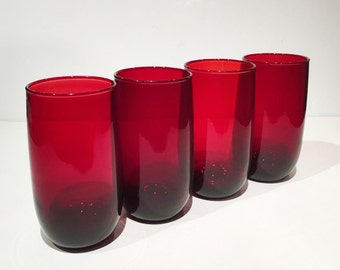 Set of 4 Anchor Hocking Royal Ruby Drinking Glasses, Royal Ruby Iced Tea Tumblers, 1950s Anchor Hocking Red Glassware 13 Oz. Tall Glasses