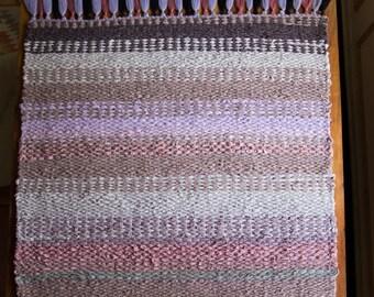 Handmade Woven Purple Rag Rug with Tassels