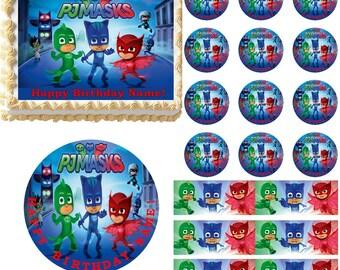 PJ Masks Edible Cake Topper, PJ Masks Edible Cupcakes, PJ Masks Birthday, Edible Birthday Cake, Cake Images, Cake Pictures, Cake Photos