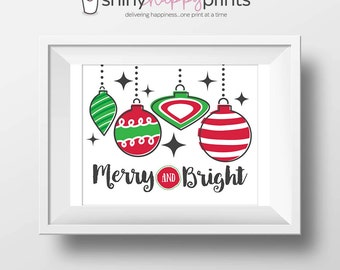 Merry & Bright Christmas Digital Print, Christmas Print, Red Green Retro Ornament, DIY Instant Download Holiday, Shiny Happy Prints