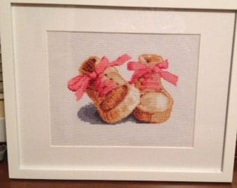 Baby Girl Shoes Finished Cross Stitch