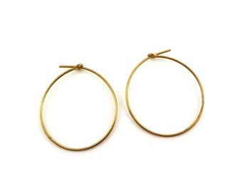 Earring wire hoops Dangle Ø25mm Raw Brass 20 gauges (2)
