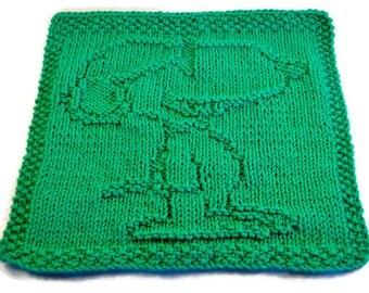 Knit Washcloth, Dog Washcloth, Snoopy Washcloth, Green Washcloth, Snoopy Dishcloth, Green Dishcloth, X-large Dishcloth
