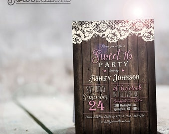 Rustic Pink Sweet 16 Invitation - Personalized Printable DIGITAL FILE