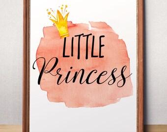 Little Princess Printable Art Baby girl nursery Princess Crown Princess Decor Girl Nursery Decor Childrens wall decor Girls Room decor