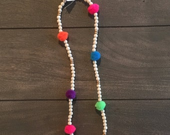 Pompom necklace multicolored