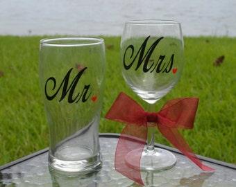 Mr and Mrs Beer Mug and Wine Glass, Wedding Gift, Engagement Gift, Mr & Mrs matching gift