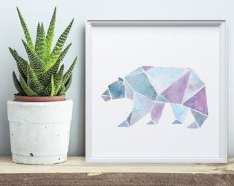Bear Print - Geometric Watercolor Painting - Wall Art Series