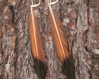 """Black Redstart Feather Bohemian Earrings / 4"""" hanging earrings"""
