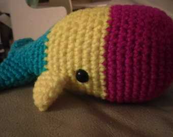 "Pansexual Pride Whale (Pansexu-whale) - 6"" Crochet Whale in Pansexual Pride Colors"