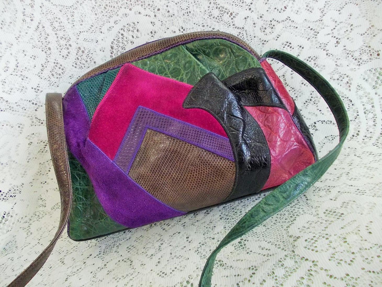 Couture Patchwork Suede & Leather Handbag, Sharif USA