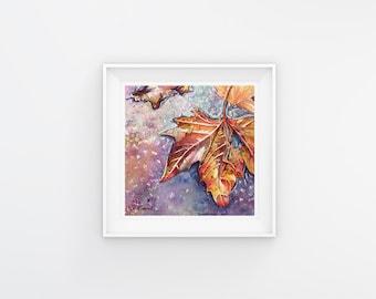 5x5 Leaf Print of Original Little Leaf 4 Fine Art Watercolor Painting, Home Decor, Wall Art, Gift Ideas