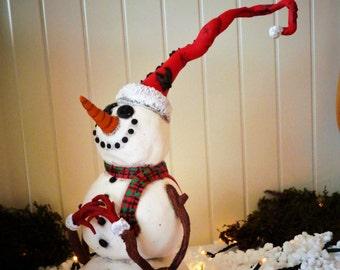 Christmas decor, Christmas snowman, Whimsical Christmas decor/Ornament