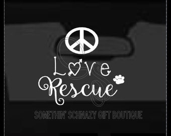 Peace Love Rescue Car Decal, Rescue Car Decal, Animal Lover Decal, Car Decal, Car Cling, Window Cling Decal, Car Window Cling