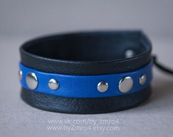 Handmade leather bracelet. Black and blue.