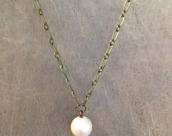 Vintage Glass Spanish Pearl on Antiqued Brass Necklace