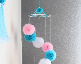 Baby Girl Mobile - Pink Cot Mobile - Pom Pom Mobile - Turquoise Ceiling Mobile - White Pompom - Hanging Mobile - Crib Mobile - Girl Nursery