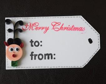 Set of 4 Handmade Christmas Tags - Holiday Tags - 3-D Tags