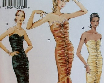 Vogue pattern, new, misses petite dress, strapless evening gown, mid-calf, floor length, shaped flounce, size 14, 16, 18