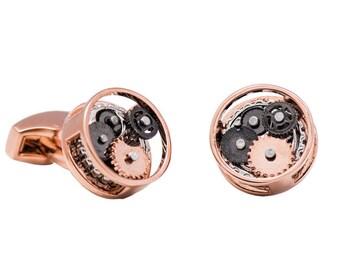 Steampunk Gear Cufflinks Round Copper (SP135)