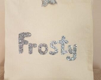 Silver Frosty canvas tote shoulder bag