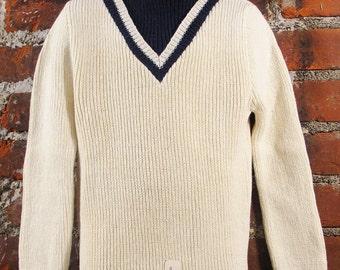 1960's Boys Cream and Navy  Mock Turtle Neck Sweater