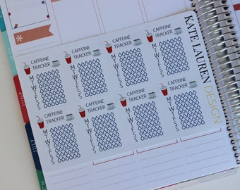 Coffee Planner Stickers, Erin Condren Sidebar, Caffeine Tracking, Soda Tracking