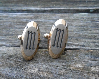 Vintage Gold Monogram M or W Cufflinks.. 1990s. Gift For Dad, Brother, Husband.