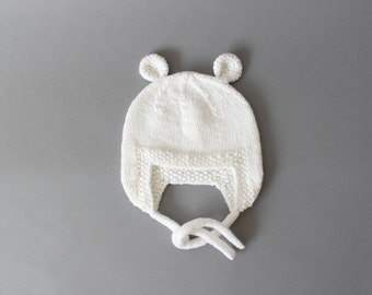 Baby wool hat - Baby knit - Knit baby hat - Winter hats kids - Earflap hat - Newborn hat - Toddler hat - Merino wool hat - White hat